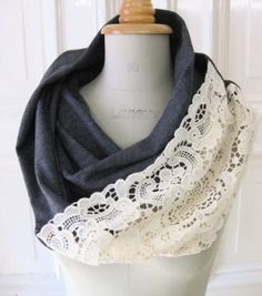 DIY infinity scarf from an old t-shirt & lace. I LOVE this! I need to figure out what is wrong with my sewing machine or make a new purchase!