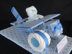Airplane Diaper Cake www.facebook.com/DiaperCakesbyDiana