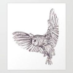 Beautiful idea for a tattoo  Pencil Drawing - Owl in flight Art Print by JennieA13