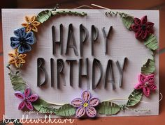 happy birthday vintage quilling card on Behance