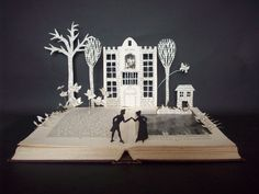 Book sculpture 'Arcadia' play by Tom Stoppard Book art OOAK book lover gift by WordsInk on Etsy https://www.etsy.com/listing/195907337/book-sculpture-arcadia-play-by-tom