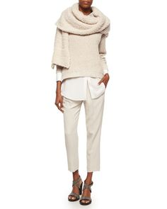 -619V Brunello Cucinelli English Rib Knit Paillette Sweater, Long-Sleeve Silk-Hem Shirt, Pleated Crepe Cropped Pants & Cashmere-Blend Boucle Knit Scarf
