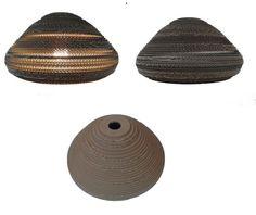ANDRZEJ 40 - lampa z kartonu - Nazwa:  Andrzej 40 / Średnica: 40 cm / Wysokość: 20,5 cm / Żarówka: Max 60 W Cardboard lamp; #light #interior #home #design #homedesign #cardboard