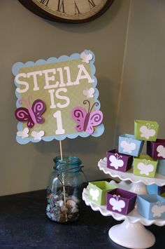 Butterfly Birthday Sign, Butterfly 1st Birthday, Butterfly Baby Shower. $12.00, via Etsy.