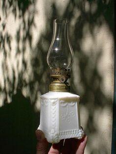 Old Ornate 1890s Victorian Milk Glass Antique Miniature Oil Lamp   eBay