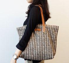 Handmade Brown Geometic Tote Coffee Bean Leather Handle Brown Shoulder Bag Beach Tote Diaper Bag Longchamp Bag SheetaDesign