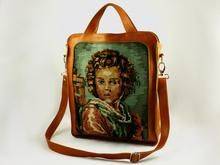 """""""The young one"""" Leather bag with vintage cross-stitch embroidery . Designed and made by Dutch designer Anna Treurniet. annatreurniet.nl"""