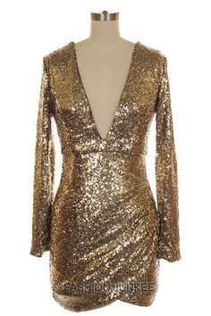 GOLD SEQUIN V-NECK Long Sleeve DRESS - For Josh's 30th in Vegas?! I think YES.