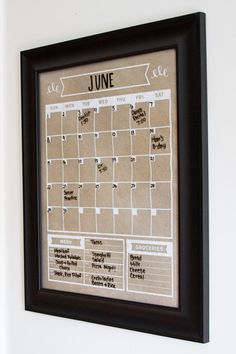 Kraft Calendar Vertical Family Planner Wall by BlissNotions