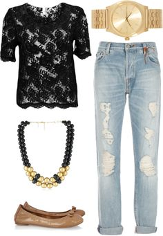 """""""black lace top   outfit four"""" by boxandbrownie on Polyvore"""