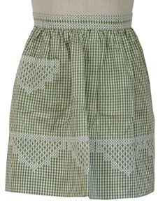 Vintage Apron: -no label- Womens olive and white cotton blend apron in a gingham print with cross stitch embroidered trim, a right side pocket and back ties. Aprons Vintage, Vintage Sewing, Vintage Clothing, Chicken Scratch Embroidery, Timeless Fashion, Fashion Details, Fashion Fashion, Gingham Fabric, Sewing Aprons