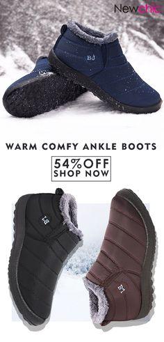 06c90eae662e Men Waterproof Warm Fur Lining Letter Slip On Ankle Boots is fashionable
