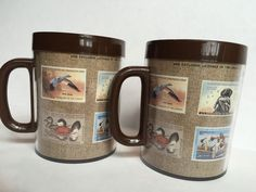Thermo Serv Mugs Set 2 Duck Stamp Waterfowl Brown Art Vintage Collectible Hunt #ThermoServ