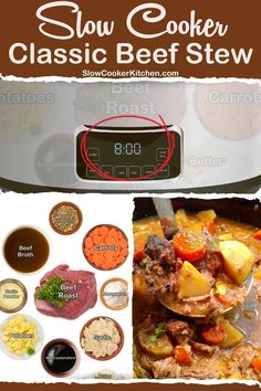 10-Minute, quick and tasty beef stew recipe in crockpot! With slow cooker, stove-top, pressure cooker, Tasty Beef Stew Recipe, Easy Beef Stew, Crockpot Recipes, Soup Recipes, Classic Beef Stew, Slow Cooker Beef, Freezer Meals, Crock Pot, Stove