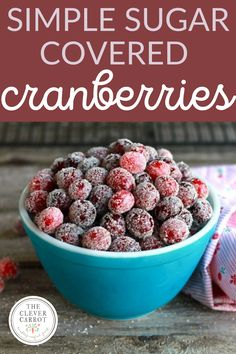 These festive little baubles are tart and sweet, and make a great snappy sound when you pop them in your mouth. If you plan ahead and give yourself some extra time, they're not difficult to make either. Try them scattered onto a cheese plate or as a beautiful topping for desserts. They're incredibly sparkly and will look great on any holiday table! #cranberries #sugar #sugarcoveredcranberries Holiday Appetizers, Best Appetizers, Christmas Desserts, Christmas Baking, Christmas Recipes, Appetizer Recipes, Holiday Recipes, Food Tips, Food Hacks