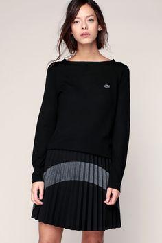 Pull laine fin noir patch logo brodé Lacoste