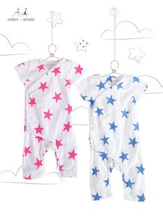 Our adorable line of breathable cotton muslin essentials is ready for spring… are you? From pink stars to blue, our short sleeve kimono one-pieces are ready for warm weather adventures.