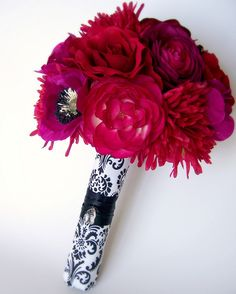 Reds & Magentas Bouquet with Damask Wrap by Raven's Bloom, via Flickr