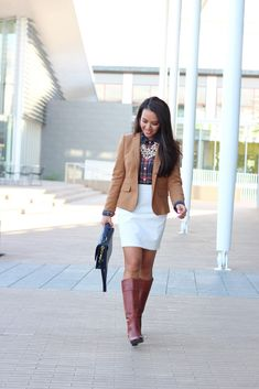 Camel blazer, plaid button up shirt,pearl necklace,navy purse and brown boots //  http://www.stylishpetite.com/2013/12/plaid-and-pearls.html