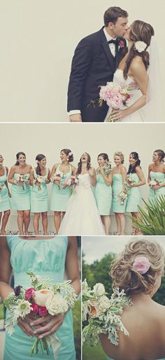 White wedding dress and mint bridesmaid dresses go great together