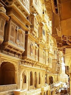 Jaisalmer, The Golden city, Rajasthan  Jaisalmer is one of the most amazing places in the state of Rajasthan. The city stands on a ridge of yellowish sandstone, crowned by a fort, which contains the palace and several ornate Jain temples.  Havelis like the one below are elaborate sandstone mansions built by wealthy merchants back in the Jaisalmer's trading heyday and they give an insight to the then prevailing forms of architecture.