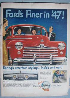April, 1947- Life Magazine Ford Advertisement – Vintage Ford Automobile Ad. #1940s #1940sadvertising #1940slife #1940scar #vintagecar