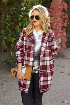 Plaid casual coats