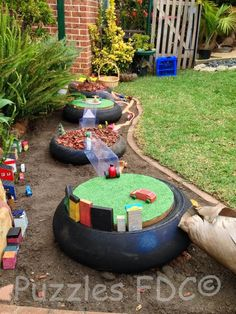 Tire play - Puzzles Family Day Care ≈≈ I could get lost on this fb page for hours or days, maybe. There are just SO many great ideas. by dorothea Eyfs Outdoor Area, Outdoor Play Areas, Outdoor Fun, Natural Playground, Outdoor Playground, Playground Ideas, Outdoor Learning Spaces, Family Day Care, Sensory Garden