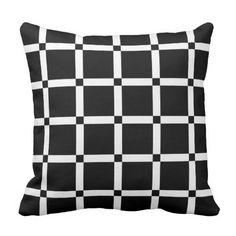 Black & White Grid Pattern Throw Pillow