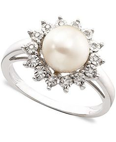 10k White Gold Ring, Cultured Freshwater Pearl & Diamond Accent - Rings - Jewelry & Watches - Macy's