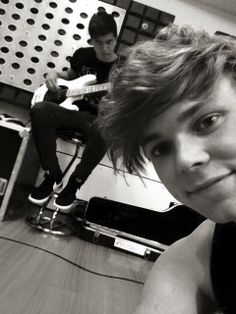 "#imagine Ashton texting you this picture saying ""He's working really hard on this song for you and you'll love it :-)"""