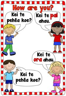 Poster to share 'Kei te pehēa koe?' and response in Māori. Free and printable from Classroom Treasures: Māori Free Poster Printables, Teaching Reading, Languages, Kindergarten, Parents, Teacher, Classroom, This Or That Questions, Maori