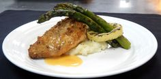 Main Course  Pistachio Crusted Chicken, Orange Reduction, Asparagus with Yellow Squash Ring, Pomme Sweet Potato Souffle   #RiversideHotel #Catering