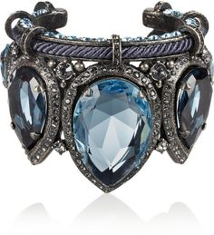 Lanvin Pewter Crystal Cuff in Silver only $2120.00 Never in my lifetime but STILL gorgeous!