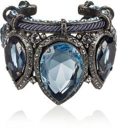 LANVIN  Silver Pewter Crystal Cuff