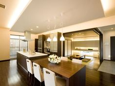 アイランドキッチンとテーブル イメージ Japanese Home Design, Japanese Interior, Japanese House, Kitchen Dinning, Kitchen Pantry, Dining Room, Dining Table, Kitchen Interior, My Dream Home