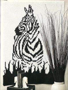 Zebra Afghan Vintage Crochet Pattern Home Decor by PatternMania3