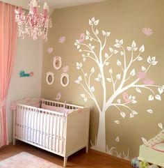 Beyaz Ağaç Ve Pembe Kuşlar Bebek Ve Çocuk Odası Duvar Sticker Fiyat: 164 TL