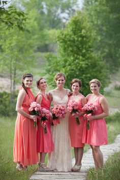 Bridesmaid's in Coral| A Whimsical {Shades of Coral} Wedding in the Woods|Photographer:  Rebecca Pfeifer Photography
