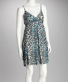 Take a look at this Blue Leopard Sundress by AOYAMA ITCHOME on #zulily today!