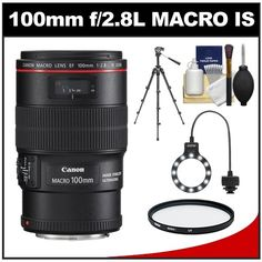 Canon EF 100mm f/2.8 L IS Macro USM Lens with Tripod + UV Filter + Macro Ring Light + Accessory Kit for EOS 60D, 6D, 7D, 5D Mark II III, Rebel T3, T3i, T4i Digital SLR Cameras - http://slrscameras.everythingreviews.net/1114/canon-ef-100mm-f2-8-l-is-macro-usm-lens-with-tripod-uv-filter-macro-ring-light-accessory-kit-for-eos-60d-6d-7d-5d-mark-ii-iii-rebel-t3-t3i-t4i-digital-slr-cameras.html
