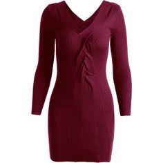 Twisted V Neck Knitted Dress Wine Red ($20) ❤ liked on Polyvore featuring dresses, v-neck dresses, wine red dress, v neckline dress, red v neck dress and purple dresses