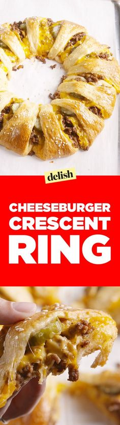 Crescent Ring This cheeseburger crescent ring is the smartest way to feed your hungry squad.This cheeseburger crescent ring is the smartest way to feed your hungry squad. Cheese Burger, Crescent Ring, Crescent Rolls, Cheeseburger Ring Recipe, Cheeseburger Cheeseburger, Crescent Roll Recipes, Cresent Ring Recipes, Pilsbury Crescent Recipes, Recipes