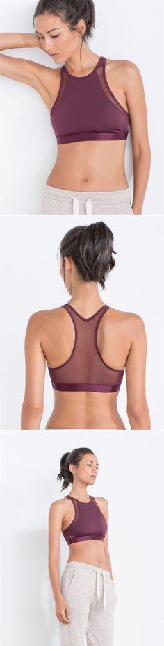 Burgundy sports bra