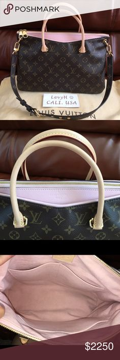 Authentic Louis Vuitton Rose Ballerine Pallas Excellent condition with minor signs of wear inside. Lining near the zip closure is slightly dirty, but barely noticeable. This color has been discontinued and sought for. Will come with long shoulder strap and dustbag. Price is firm and no trade. $1799 tru ️. Currently listed on Tradesy for $1600 after promo code. Louis Vuitton Bags Satchels