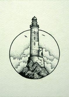 Ideas Art Drawings Black And White Ink Body Art Tattoos, Sketches, Ink Art, Pen Art, Art Tattoo, Lighthouse, Art, Art Sketches, Lighthouse Drawing