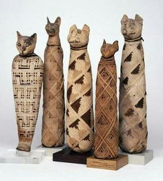 Cat mummies from ancient Egypt. Cats were thought to represent the goddess, Bastet. From 332 B.C. to 30 B.C.