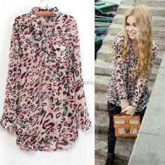 Women Sexy Chiffon Long Sleeve Leopard Print Sheer Shirt Tops Button Down Blouse | eBay