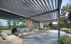 This contemporary home renovation includes a large patio roof to create the desired indoor outdoor living experience.