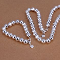 卸売銀メッキ ジュエリー セット 925 ファッション ジュエリー セット 10 ミリメートル中空ボール の ネックレス & ブレスレット ジュエリー セット